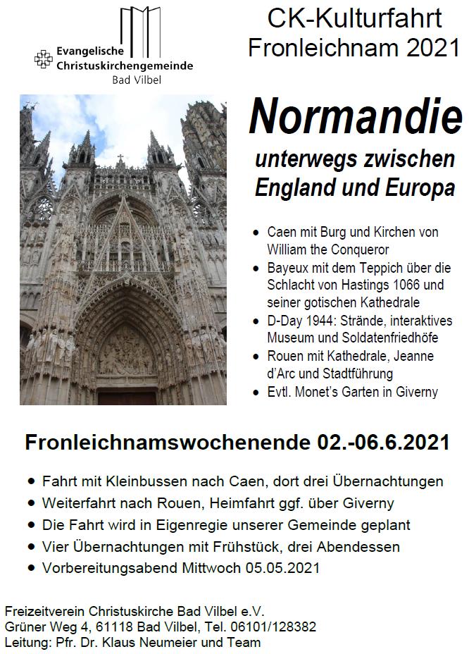 Einladung zur Kulturfahrt in die Normandie 2021